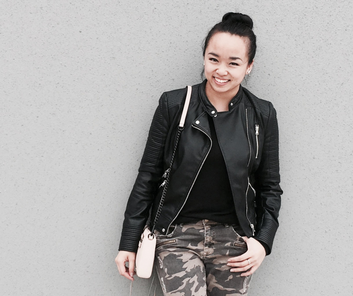 Leather + Camo :: Camo Denim & Faux Leather Jacket