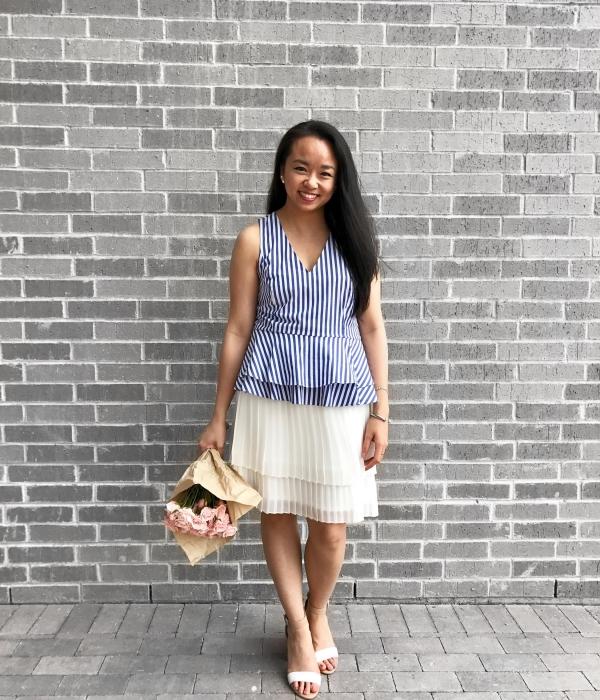 Easter Look :: Striped Peplum Top & Pleated Skirt