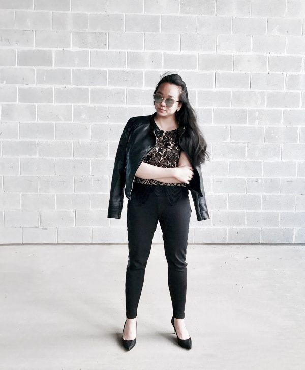 Edgy Vibes :: Lace Tee & Leather Panel Pants