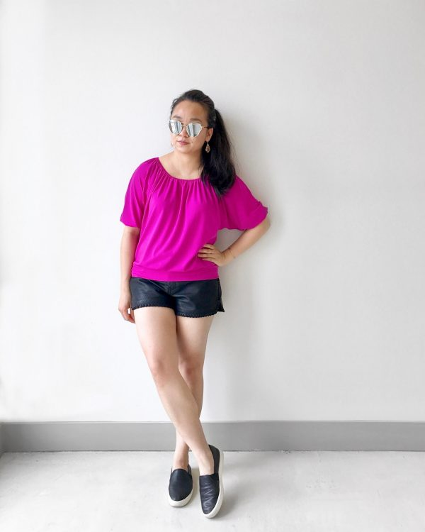 Bright & Edgy Vibes :: Pink Top & Faux Leather Shorts