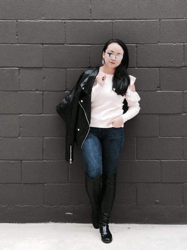 Fall Uniform :: Blush Ruffle Sweater & Faux Leather Jacket
