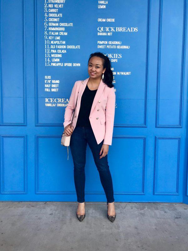 Weekend Casual :: Blush Blazer & Lace Heels