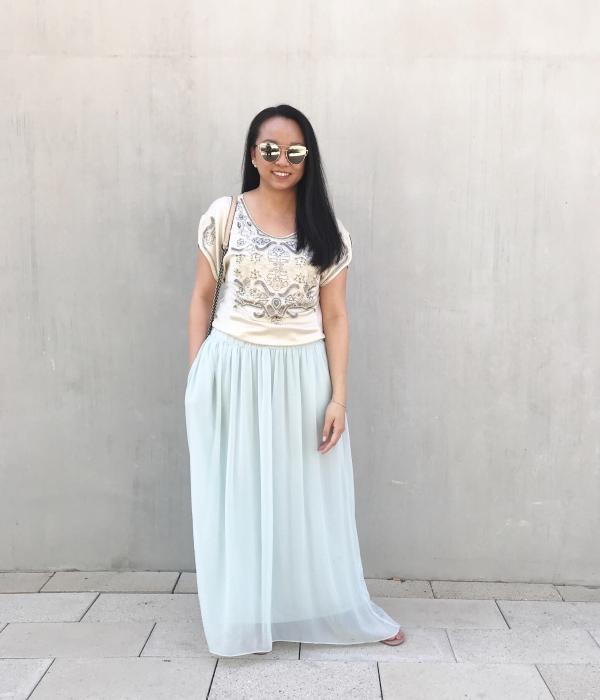 Springtime :: Beaded Cocktail Top & Light Blue Maxi Skirt