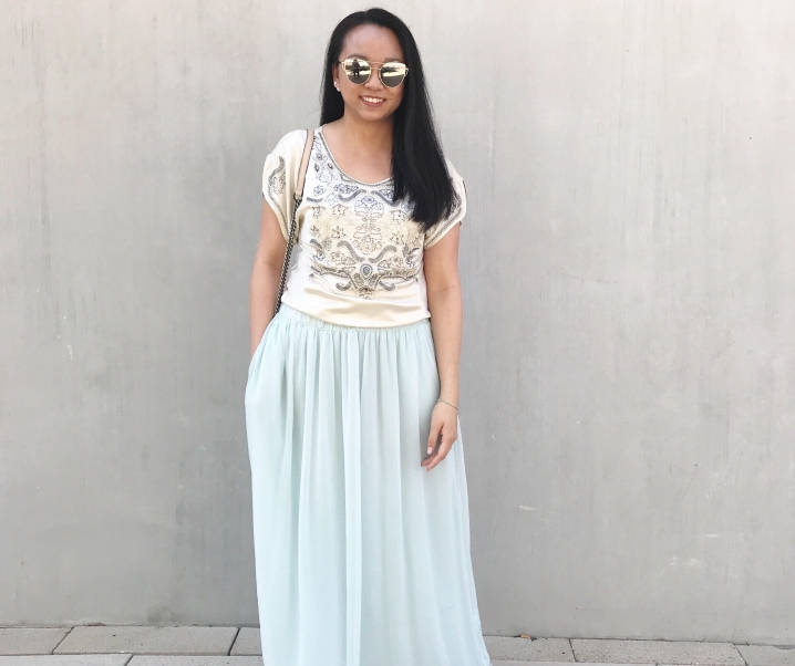 Springtime :: Beaded Cocktail Top & Light Blue Maxi Skirt