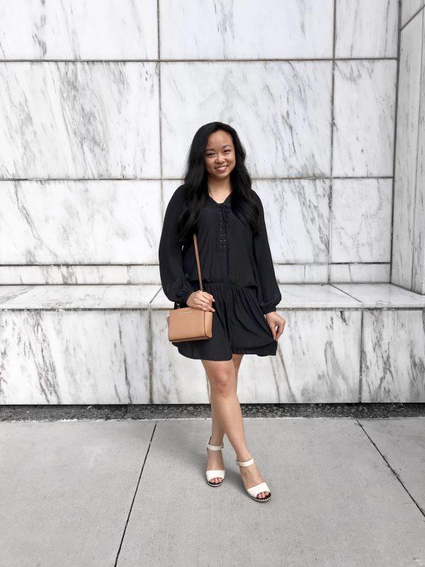 Fear of Success :: Navy Dress & Taupe Crossbody Bag