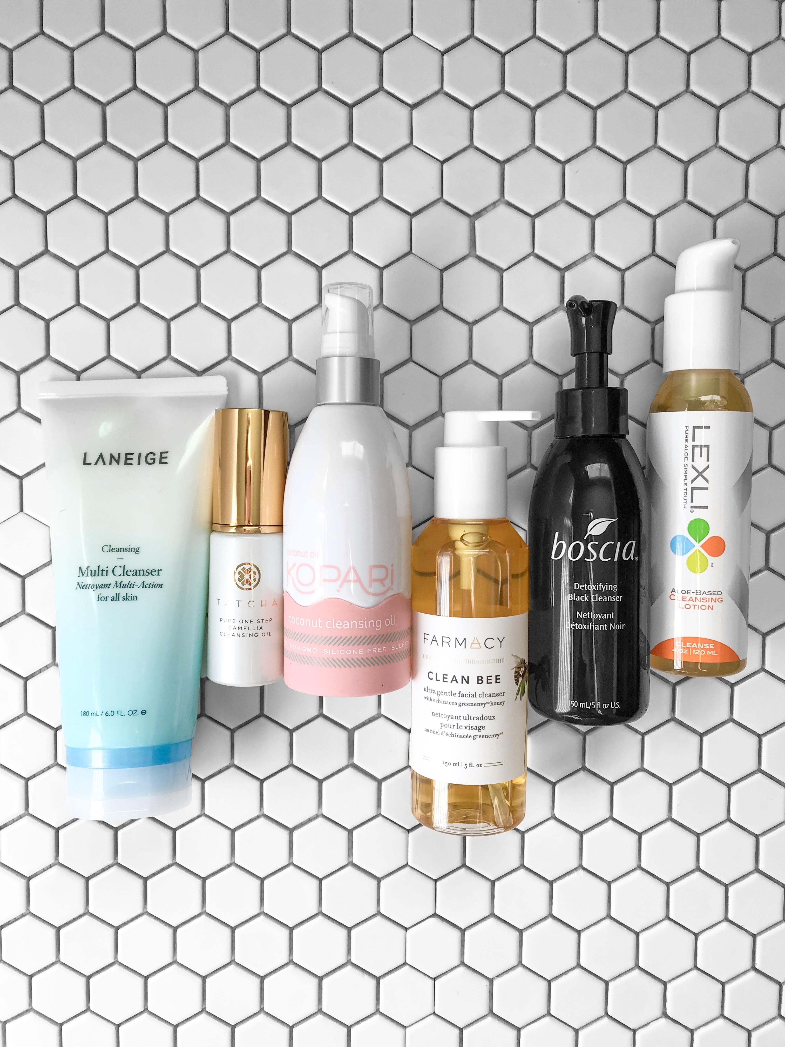 Face Cleansers I'm Currently Testing   She Sweats Diamonds - Laneige Multi Cleanser - Tatcha Camellia Cleansing Oil - Kopari Coconut Cleansing Oil - Farmacy Clean Bee Facial Cleanser